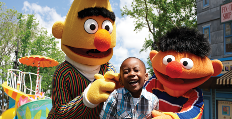 Bert and Ernie with Little Boy - Sesame Street Parade